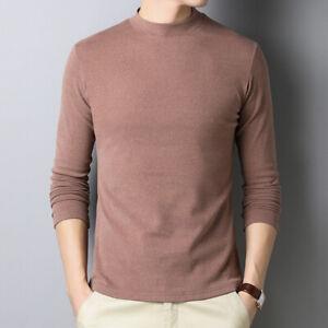 Men's Slim Warm Half High Turtle Neck Collar Bottoming Base Shirt Tops Blouse