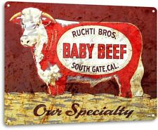 Ruchti Bros Beef Farming Ranch Farm Cow Retro Rustic Metal Decor Sign