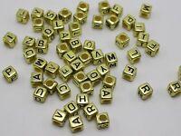 500 Assorted Golden Acrylic Alphabet Letter Cube Beads 6X6mm