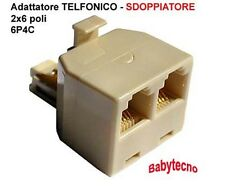 Adattatore sdoppiatore TELEFONO Telecom Plug 2 PRESA SPINA telefonica 6P/4C NEW