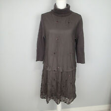 Sundance M Brown Sweater Dress Sequined Embroidered Cowl Neck Wool b Rabbit Hair