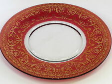 Ruby Red & Gold Large Glass Plate (Anniversary?) 297mm Diameter 11 1.9cm