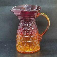 "Vintage Amberina Glass Pitcher Carafe 7.5"" Diamond Point Pattern Unusual  Rare"