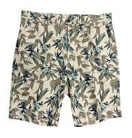 Roundtree & Yorke Caribbean Men's Casual Floral Cotton Shorts Flat New