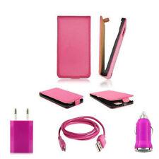 SLIM FLIP TASCHE SAMSUNG GALAXY S4 MINI I9195+ 3IN1 LADEKABEL USB SET PINK