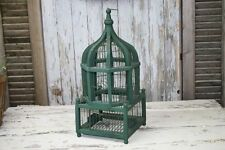 Vintage Bird Cage Wood & Wire Hunter Green Dome Tiered Shape Cottage Chic