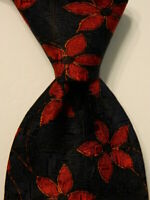 ERMENEGILDO ZEGNA Mens 100% Silk Necktie ITALY Luxury FLORAL Blue/Red/Orange EUC