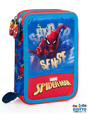 Marvel Spiderman - Astuccio triplo riempito, 44 pezzi, 3 Zip, Scuola, 43224