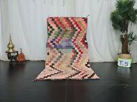 """Vintage Handmade Colorful Moroccan Rug 3'2""""x6'1"""" Zigzag Tribal Wool Berber Rug"""