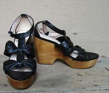 COACH Black Leather NOLA Wooden Wedge Platform Sandals   NEVER WORN   Size 7.5 B