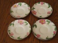 """Set of 4 Vintage Franciscan China Dessert Rose 5-3/4"""" Saucers (England 1984-2003"""