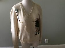 Polo Ralph Lauren RL Golf Vintage V Neck Sweater M Medium Cream Cotton Hand Knit