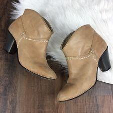 Maje Women's Tan Olivette Leather Ankle Boots Stitch Detail Size 8 EU 38