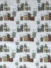 Houses in the Snow John Louden Digital 100% Cotton Christmas Fabric 150cm