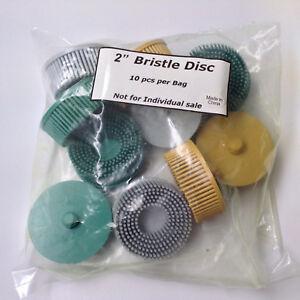 """10pc 2"""" Roloc Bristle Disc Assortment - (4) 50 Grit, (3) 80 Grit, (3) 120 Grit"""