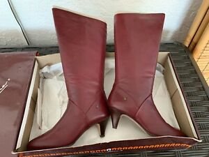 NIB Burgundy Leather ~ Etienne Aigner ~ Zipper Leather Boots ~ 6 1/2 M
