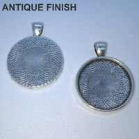 20mm ROUND ANTIQUE SILVER COLOUR CABOCHON PENDANT SETTING TRAY 20mm  C36