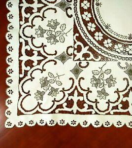 Antique Vintage Linen Embroidered Madeira Cutwork Richelieu Tablecloth & Napkins
