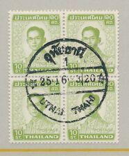 THAILAND SIAM UTHAI THANI POSTMARK on BLOCK of 4 1972