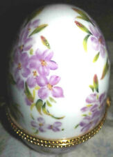 pretty purple flowered decorated egg trinket box