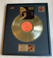 ELVIS PRESLEY ALOHA FROM HAWAII 1973 GOLD METALIZED VINYL RECORD IN FRAME