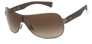 Ray Ban 3471 029/13 Unisex Pilot Shield Gunmetal Brown Gradient Sunglasses NEW