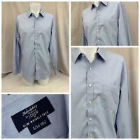 J Crew Dress Shirt 16 34/35 Blue 100% Cotton Slim Fit Wrinkle Free Mint Flipz A6