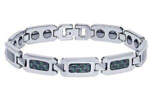 NEW Men's Shiny Tungsten Carbide Bracelet w/ Black & Green Carbon Fiber Inlay