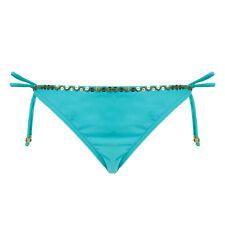 Hunkemöller Damen Bademode Bikini Pailletten Slip Uni beads tanga Blau Größe: L