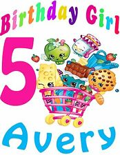 Shopkins Birthday Shirt Add Name AGE Personalized Shopkins Shopping Cart