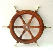 Nautical Brass Handle Wooden Helm Ship Wheel Boat Steering Antique Wall Decor