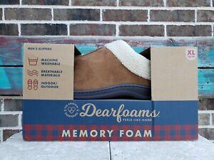 Dearfoams Men's Memory Foam Slippers Chestnut Brown Indoor/Out  X-Large (13-14)