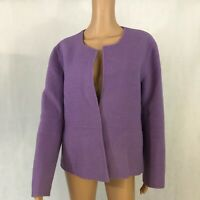 Eileen Fisher Womens Open Front Jacket Size L Large Lavender Purple Wool Blend