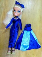 BRATZ DOLL LONG BLONDE HAIR ROYAL BLUE LONG SLEEVED VELVET DRESS & HIGH HEELS