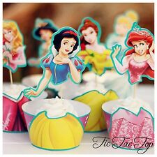 12x 6 Disney Princesses Cupcake Topper + Wrapper. Party Supplies Lolly Loot Bag