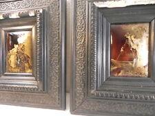 Rare paire de gravures plaques cuivre or argent scene romantique signée A.H 1889