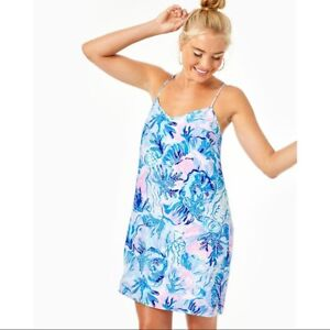 NEW Lilly Pulitzer DUSK STRAPPY SILK SLIP DRESS Saltwater Blue Shade Seekers S L