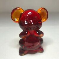 "Boyd Glass WILLIE THE MOUSE Cardinal Red Figurine Marked B 2"" tall"