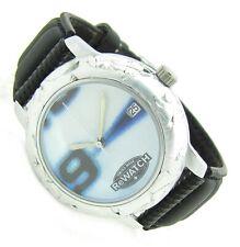 Re-WATCH Swiss Damen Herren Armbanduhr Leder Datum Alu 3ATM Batterie neu s090