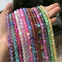Mystic Aura Quartz Gemstone Loose Beads Holographic Quartz Matte DIY Bracelets