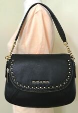Michael Michael Kors Aria Studded Convertible Black Leather Shoulder Bag