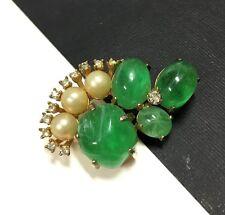 Vtg MARVELLA Flawed Green Emerald Cabochons Pearl & Rhinestone Brooch Gold FF13z