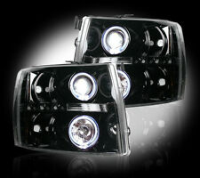 2007-2013 Chevy Silverado Projector Headlights Smoked Lens w/ LED Halos & DRLs