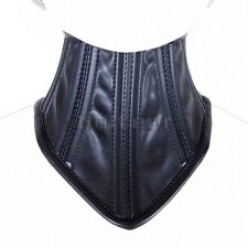 Soft Black Leather Neck Corset Collar Women Fetish Lockable Restraint Neckcollar