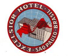 OLD LUGGAGE LABEL-ETICHETTA-HOTEL EXCELSIOR BRASIL SAO PAULO
