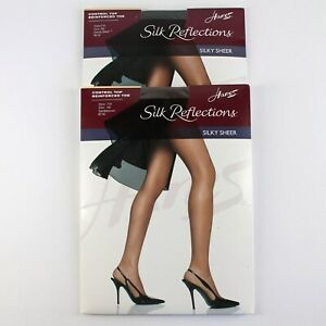 Hanes Silk Reflections Pantyhose Lot of 2 Size AB Barely Black Gentle Brown