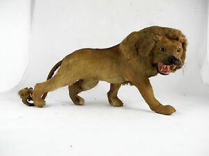 MINIATURE LION TOY WITH GLASS EYES C1950'S