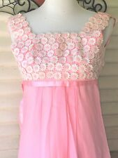 VINTAGE 1960s PRETTY IN PINK DAISIES DAISY FLORAL MAXI DRESS PARTY GOGO MOD XS