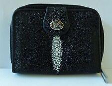 Genuine Stingray Leather Wallet, Black Stingray Wallet, Stingray Zipped Wallet