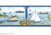 Sailboats Nautical Ship Airplane Dolphin Sea Fishing Boat Blue Wall paper Border
